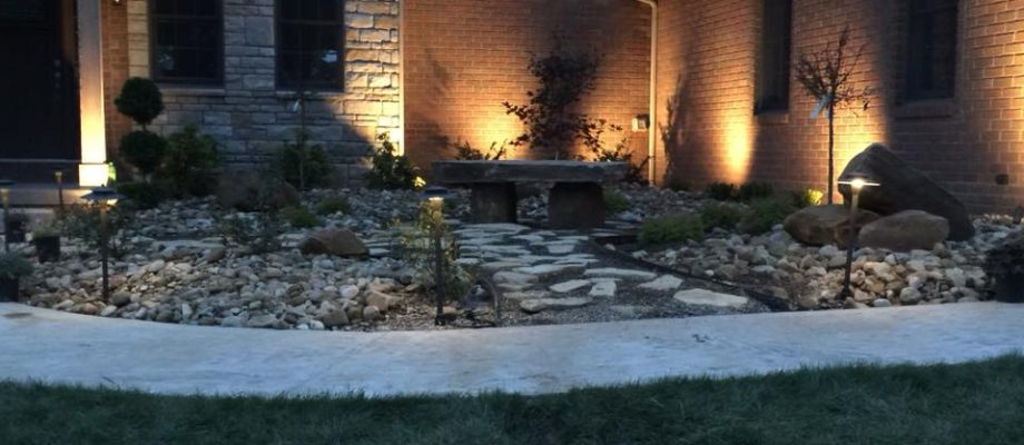 Landscaping lighting and custom bench